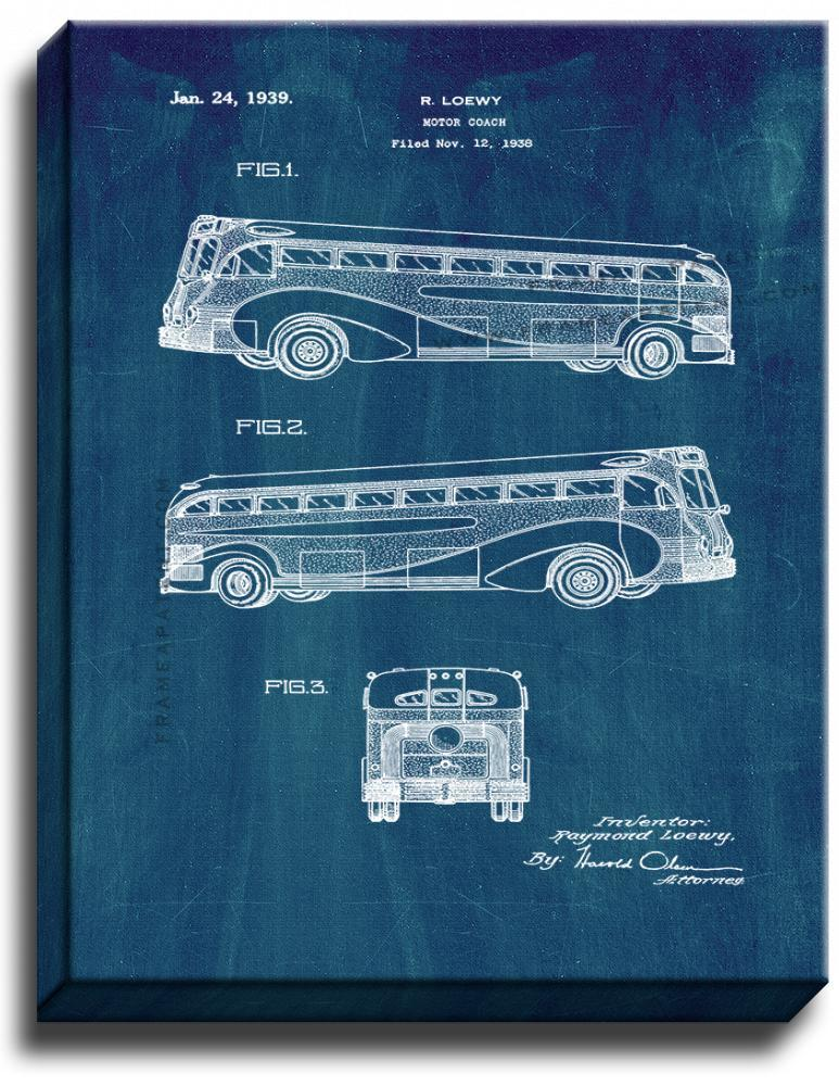Primary image for Motor Coach Patent Print Midnight Blue on Canvas
