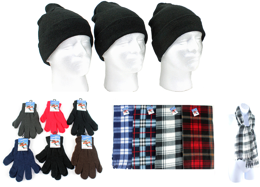 Case of [180] Winter Beanie Hats, Gloves & Plaid Scarves