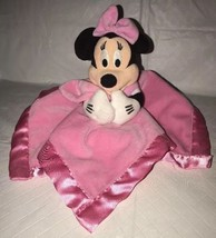 Disney Store Minnie Mouse Lovey Baby Security Blanket Nunu Rattle Pink Soft - $19.79