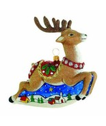 Reed & Barton Reindeer Glass Figurine Ornament Flying Old World Christmas NEW - $110.00