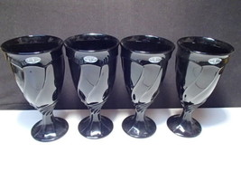4 Noritake Large Black Sweet Swirl Iced Tea / Beverage Goblets w tags - $29.95
