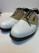 Footjoy Women's Sierra Softjoy Leather Golf Shoes - White w/Tan Trim Size 9m - $15.83