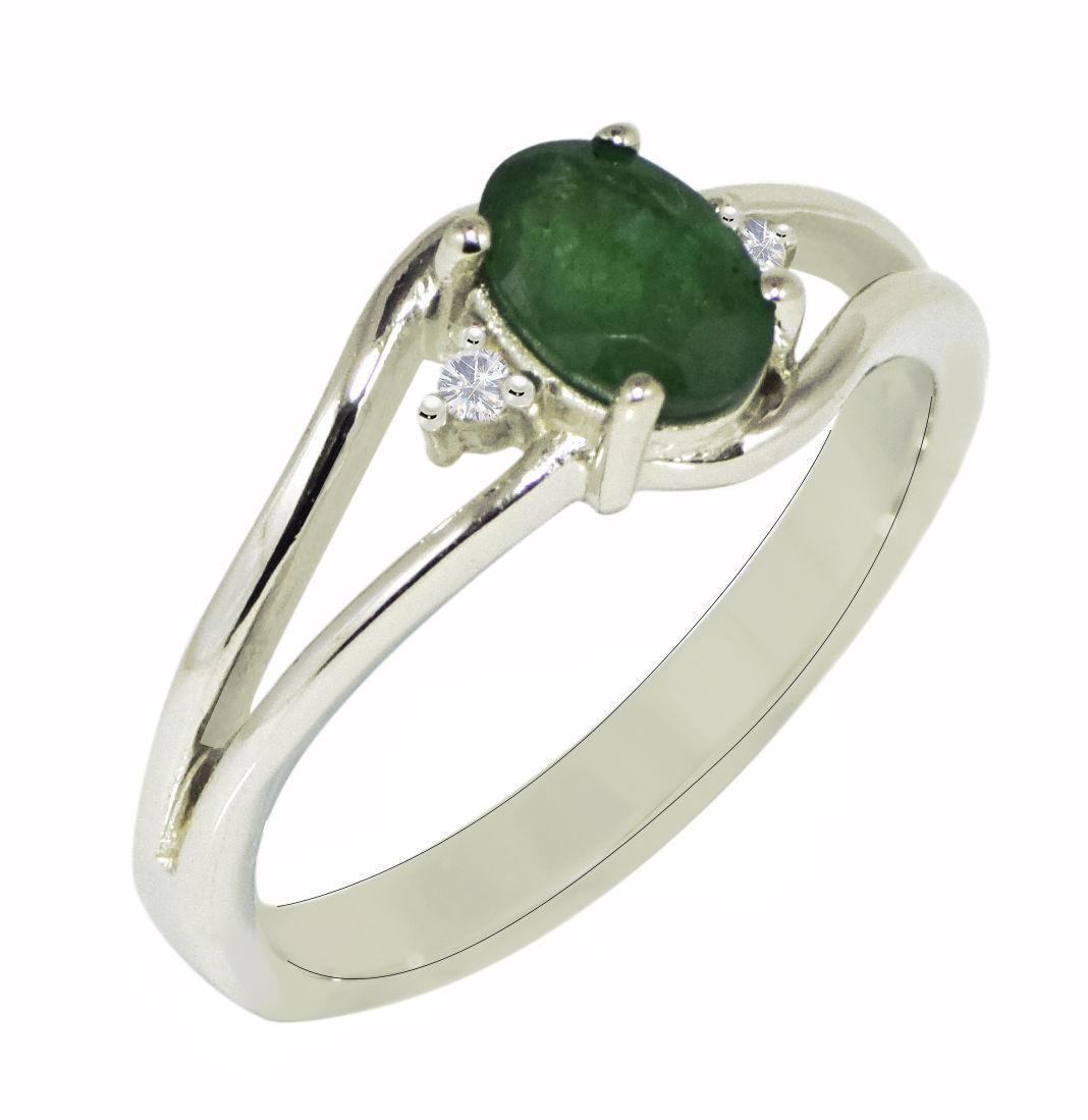 Beautiful !! Emerald & White Topaz Stone 925 Silver Jewelry Ring Size 7 SHRI0572