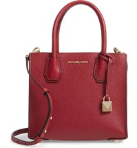 Michael Kors Mercer Pebbled Leather Messenger Bag Maroon-Helps Rescued A... - $197.95