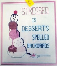 Patty Ann Creations Stressed Desserts Backwards Stamped Cross Stitch Kit... - $15.99