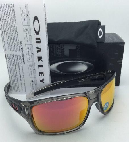 3c58d0faa76 Polarized OAKLEY Sunglasses TURBINE OO9263-10 132 Grey Ink w Ruby Iridium  lenses