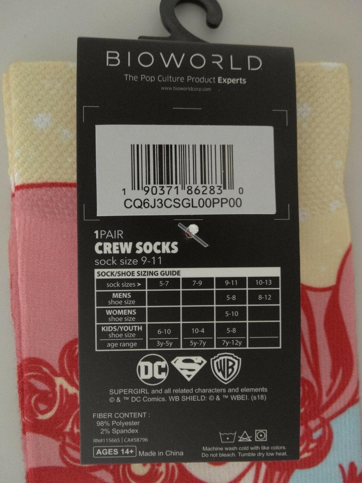 Supergirl Superman DC Comics Faded Neon Sublimated Adult Crew Socks
