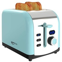 Toaster, 2 Slice Retro Toasters Stainless Steel with LED Timer Display Blue image 1