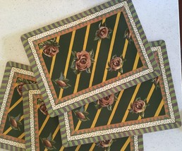 Set of 4 MacKenzie-Child Torquay Ribbon Rose Placemats - coasters available too - $148.50