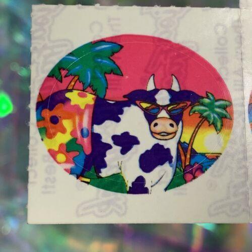 RARE HTF S112 VINTAGE LISA FRANK Single Sticker COW IN SUNGLASSES ISLAND COW