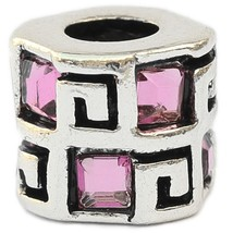 Geometric Design Pink European Bead Pandora Style Chamilia Troll Biagi - $4.83