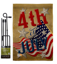 4th of July Burlap - Impressions Decorative Metal Garden Pole Flag Set G... - $33.97