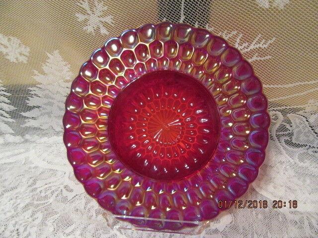 """FENTON ART GLASS 1992 RED CARNIVAL HP CHRISTMAS THUMBPRINT BETHLEHEM SCENE 8"""" PL"""