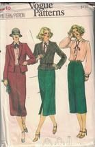 7214 sin Cortar Vogue Costura Patrón Misses Semi Ajustado Chaqueta Falda... - $6.88