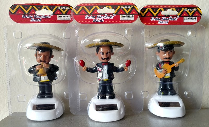 SET of 3 MARIACHI BAND SOLAR powered dashboard bobble men musicians BLACK
