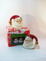 Fitz Floyd Santa Salt Pepper Set Hat Handle 1993 Very Fine Condition Ori... - $421,75 MXN