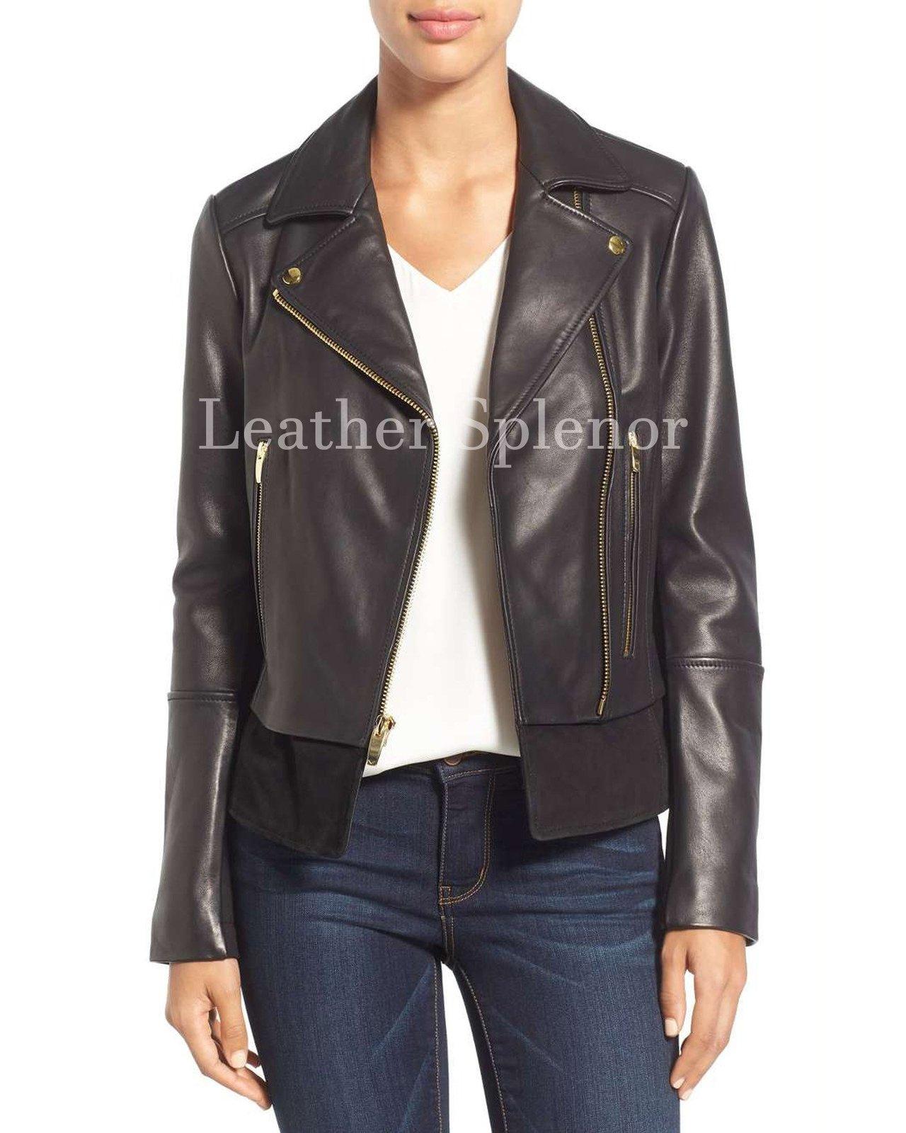 Cropped Notch Collar Women Biker Leather Jacket