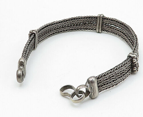 925 Sterling Silver - Vintage Wheat Link Style Two Row Chain Bracelet - B5646