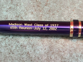 West HS Madison Wisc. Class of 1937 65th Reunion July 12, 2002 Souvenir Pen