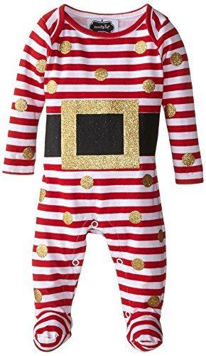 Mud Pie Girls' Baby-Newborn Glitter Santa Footed One Piece, Red/White, 6-9 Month - $23.91