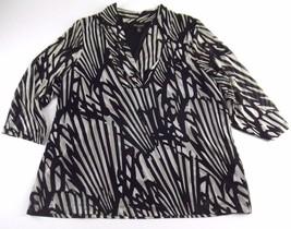 Dana Buchman Nylon Knit Top 2X Double Layer 3/4 Sleeve Black Beige Anima... - $18.99