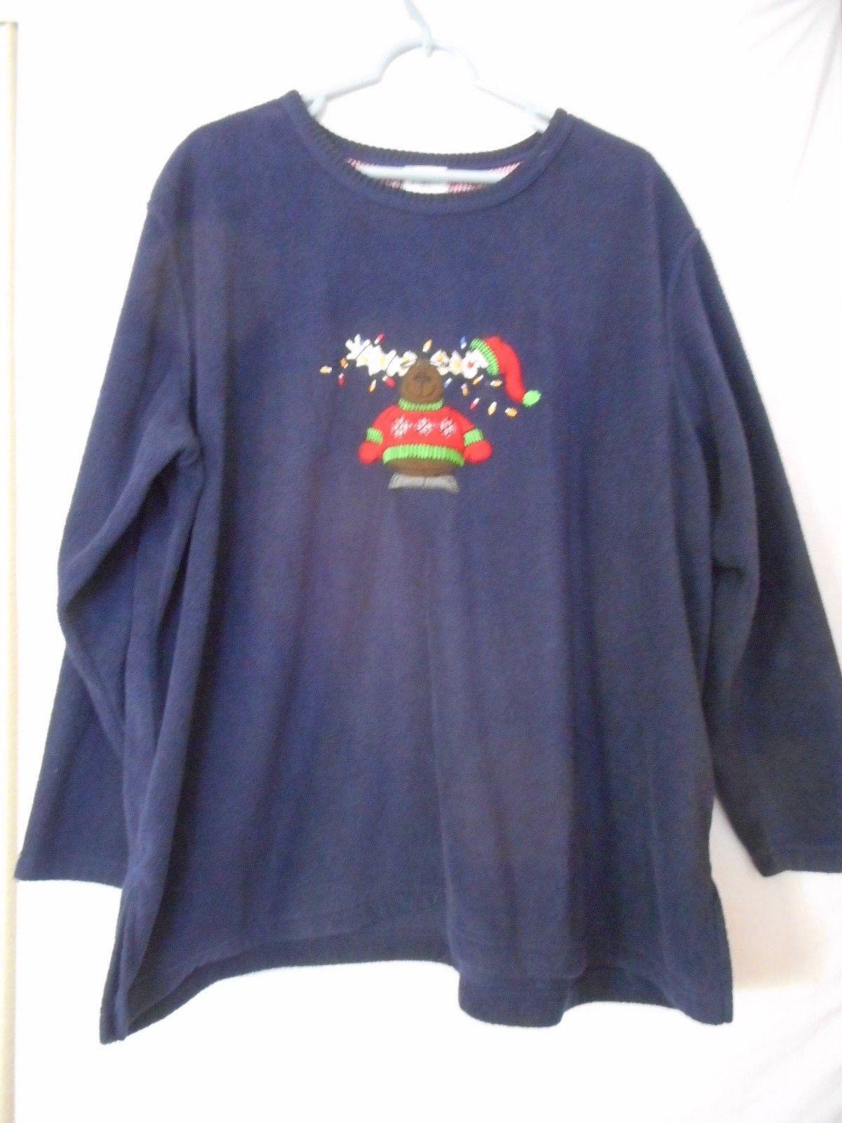 Womens Size 2x  Blue fleece moose Christmas shirt