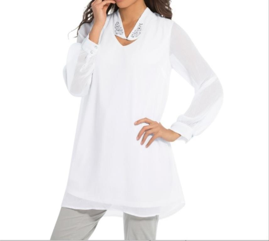 Primary image for Mother of Bride Groom Evening Women's Church Cruise White Tunic Top Plus 22W2X3X