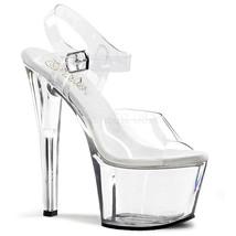 "PLEASER Sexy Stripper Pole Dancer Clear Platform 7"" High Heels Shoes SKY308/C/M - $45.95"