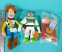 "Disney World Toy Story 1 2 3 Mini Bean Bag 7"" Plush Woody Buzz Bullseye ... - $13.95"