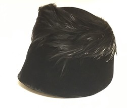 Vintage Black Velvet and Feather Hat 1930s-1940s - $35.00