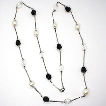 SILVER 925 NECKLACE, PEARLS, NUGGETS BLACK AND TRANSPARENT, LENGTH 85 CM image 2