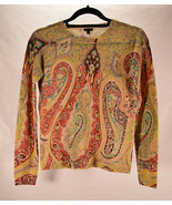 Madison 100% Cashmere Sweater Paisley Multi Color Yellow Pink Turquoise ... - $46.53