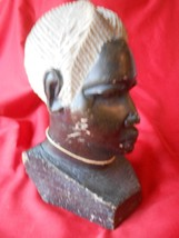 "Collectible Vintage AFRICAN Zimbabwe Stone Sculpture WOMAN ""Head Bust"" S... - $64.93"
