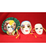 Lot of 3 hand painted New Orleans Art DeCo Face Ceramic Wall Hanging Mas... - $15.95