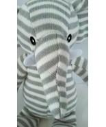 "Kellytoy Elephant Gray White Striped Knit Plush Stuffed Baby Toy 13"" w/ ... - $7.86"