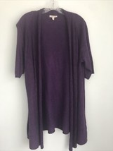 Eileen Fisher Womens LARGE Purple Open Front Tunic Cardigan Sweater Cott... - $29.70