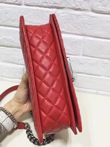AUTHENTIC CHANEL RED SMOOTH CALFSKIN REVERSO MEDIUM BOY FLAP BAG RHW image 12