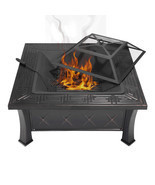"32"" Square Fire Pit Fire Bowl Outdoor BBQ Burning Grill Patio Poker Grat... - £42.97 GBP+"