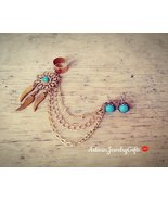 Boho Dreamcatcher Ear Cuff Earrings Set Turquoise Dream Catcher Chain Ea... - $86.00