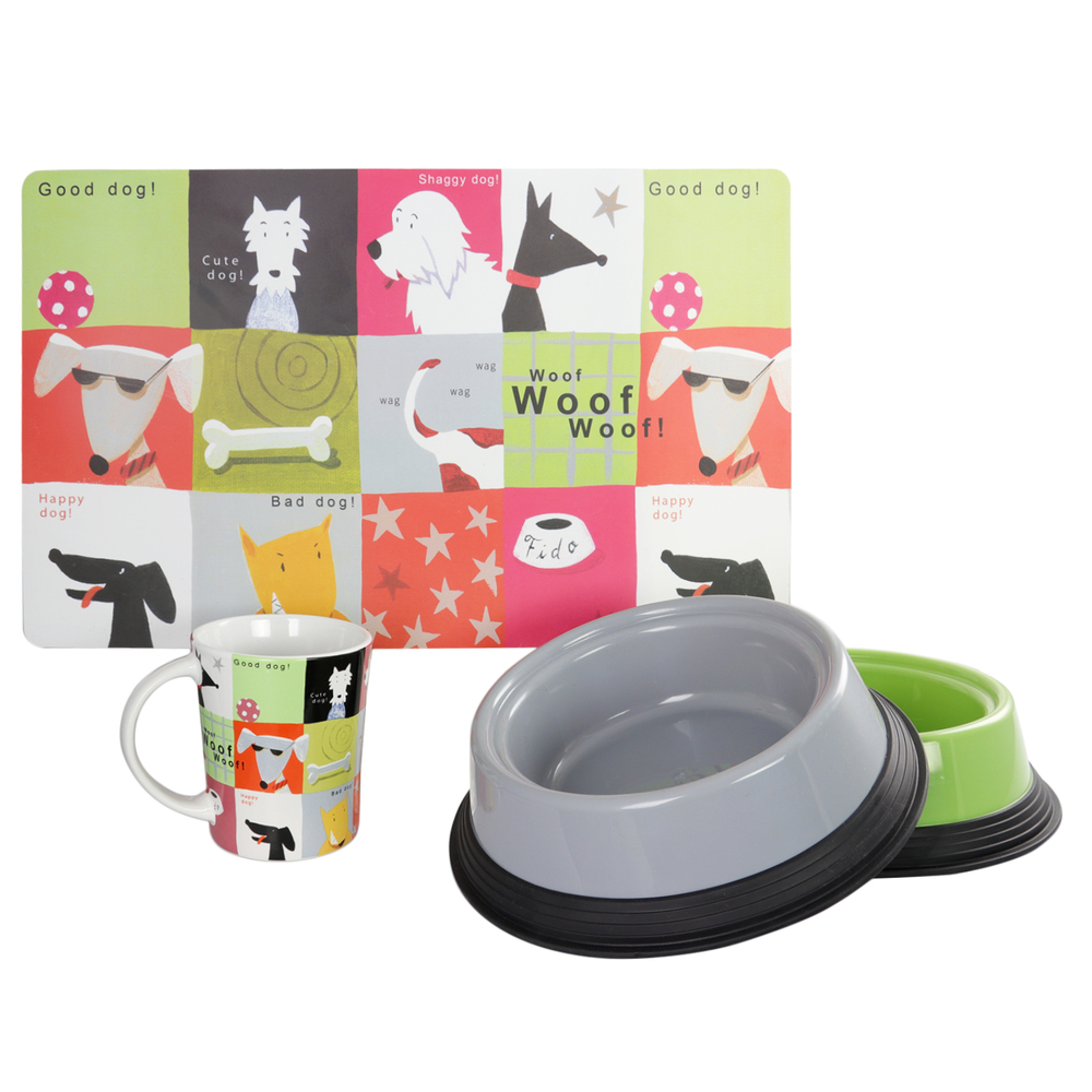 Gibson Home Doggy Chow 4-Piece Pet Combo Set