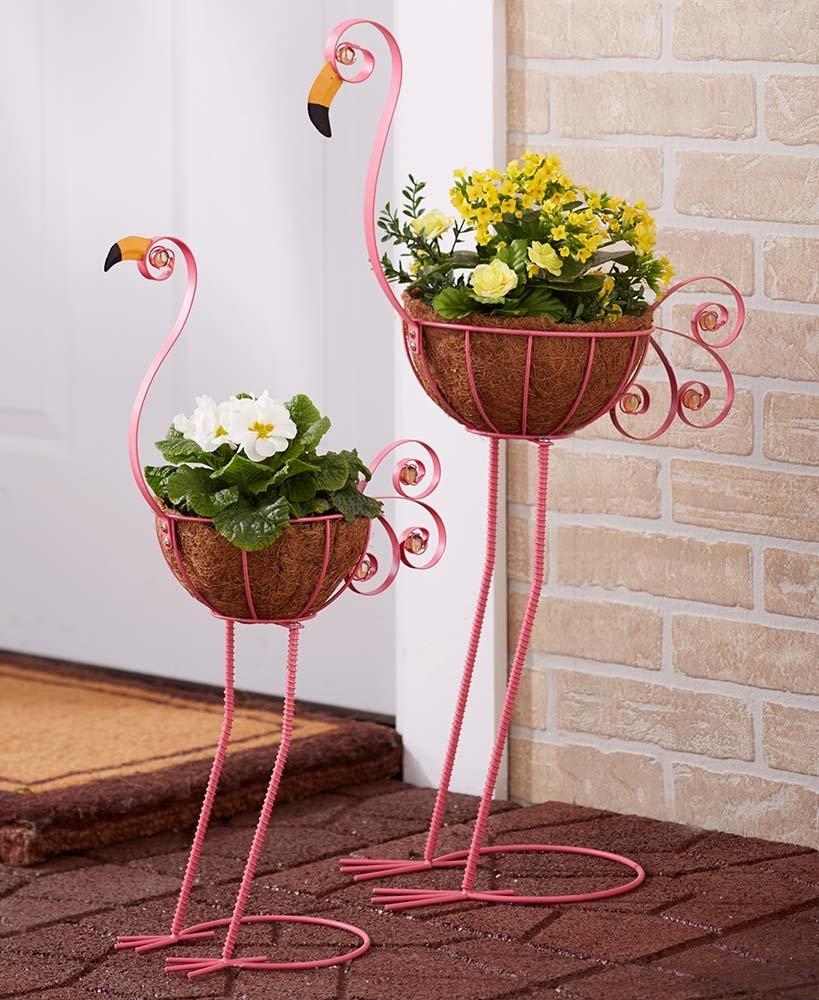 Two Garden Patio Porch Flamingo Flower Pot Planters
