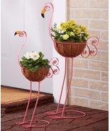 Two Garden Patio Porch Flamingo Flower Pot Planters - $40.00
