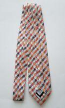 Geoffrey Beene Polyester Blend Orange Silver Checkered Print Men's Neck Tie image 4