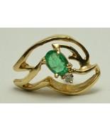 Vintage Estate 14k Yellow Gold Emerald & Diamond Pin Wind Blowing Stickpin - $175.00