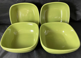 """Stoneware Green Canopy Cereal Bowls (4) 6""""x3"""" Square - $32.00"""