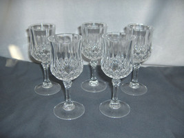 5 Vintage Cristal d'Arques Longchamps Cordial Goblets Lead Crystal NICE - $64.35
