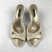 Louis Vuitton Heels Mules open toe sandals ivory leather fleur charm siz... - $299.99
