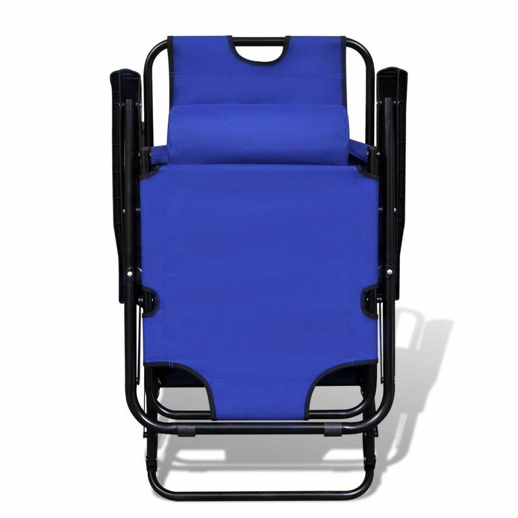 vidaXL 2x Folding Sun Loungers Reclining Chairs 3 Positions Sunbeds 3 Colors image 3