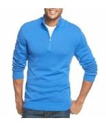 John Ashford Mens Sweater Sz M City Blue Cotton Half-Zip Casual Pullover  - $24.18