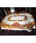 Satin Damask fall harvest Turkey tablecloth oval 54X82 Thanksgiving - $62.50